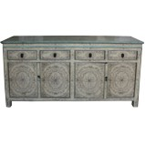 Original Beige Painted Tibetan Sideboard