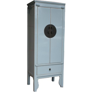 Light Blue/Grey Wooden Slim Cabinet