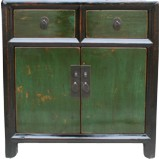 Original Old Black and Green Bedside Cabinet