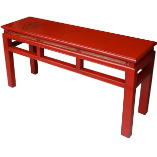 Chinese Red Bench w/Patina w/Carvings