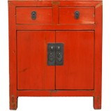 Original Red Two Drawer Bedside Table