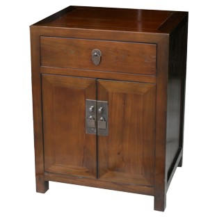 Brown Elm Chinese Bedside Table