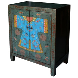 Two Drawers Painted Qing Lady's Dress Cabinet