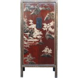 Red Chinese Cabinet with Painting