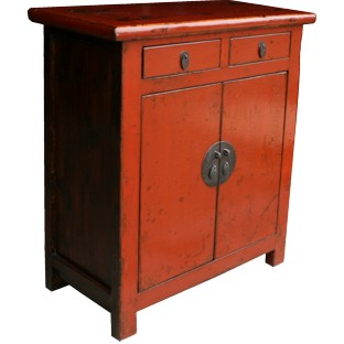 Chinese Antique Bright Red/Orange Cabinet w/Patina
