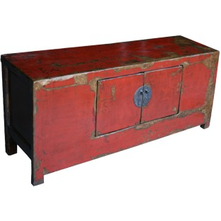 Original Red Low Sideboard w/Patina