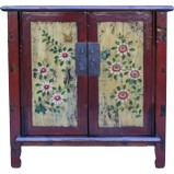 Original Dark Red Painted Chinese Cabinet