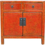 Chinese Antique Bright Red Cabinet w/Patina