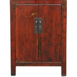 Original Red Bedside Table with Patina
