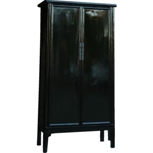 Large Black Lacquered Chinese Tapered Cabinet