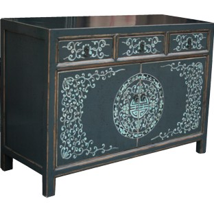 Black Mongolian Painted Sideboard
