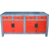 Grey and Red Lacquered Sideboard Buffet