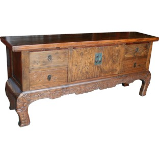 Original  Natural Elm Console Table w/Carvings