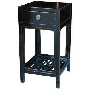 Black Lacquer Side/ Tea Table w/Lattice Panel