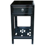 Black Lacquer Side/ Tea Table w/Lattice Panel