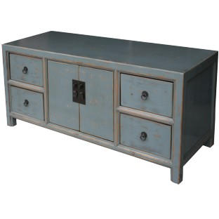 Grey Lacquered Low Sideboard Buffet