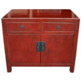 Chinese Antique Red Cabinet w/Patina