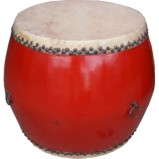 Chinese Red Wood and Leather Drum