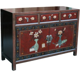 Mongolian Flora Painted Sideboard