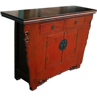 Chinese Antique Red Tapered Cabinet w/Carvings