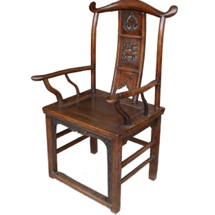 Chinese Natural Elm Carved Armchair