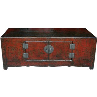 Original Red Low Sideboard w/Patina and Gold Paintings