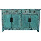 Chinese Turquoise Sideboard Buffet w/Carvings