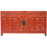 Original Red Manchurian Painted Sideboard