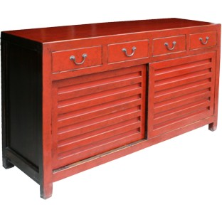 Red Japanese Style Mizuya Sideboard Buffet