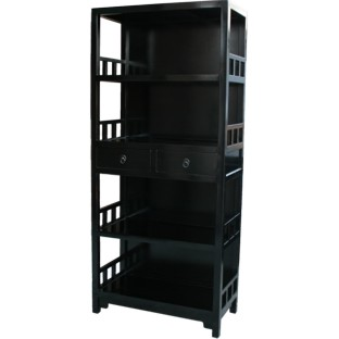 Black Lacquer Chinese Bookshelf