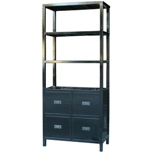 Black Chinese Bookcase with Drawers