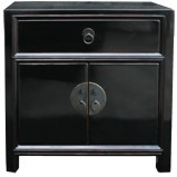 Black Lacquer Low Bedside Table