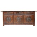 Original Chinese  3 Set Cupboard Carved Sideboard