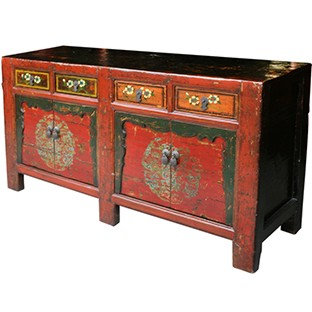 Mongolian Painted Red Cabinet