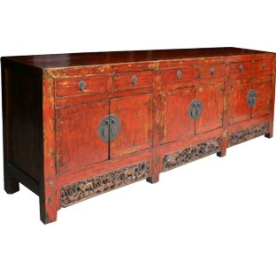 Original Red Super Long Painted Sideboard