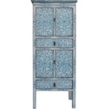 Tibetan Cabinet with Blue Flora Painting