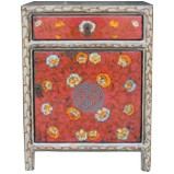 Grey Flora Tibetan Painted Bedside Table