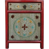 Red Tibetan Painted Bedside Table