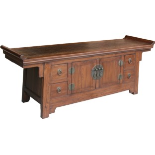 Natural Elm Wood Low Sideboard/TV Unit Rattan Inlay