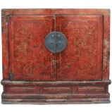 Original Red Gold Painting Cabinet