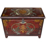 Red Antique Wood Trunk