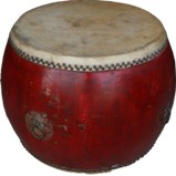 Vintage Red Lacquered Chinese Drum