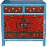 Antique Teal Red Chinese Painted Cabinet
