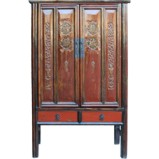 Red Chinese Carved Wedding Cabinet