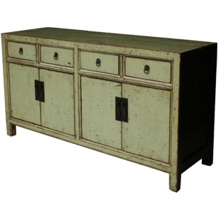 Chinese Sideboard Beige Green Lacquered