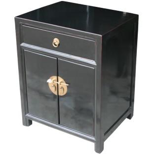 Black Lacquer Bedside Table