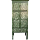 Tibetan Green Cabinet with Flora Painting