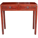 Red Two Drawer Console Table
