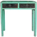 Green Two Drawer Console Table