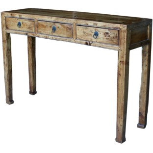 Natural Three Drawer Console Table